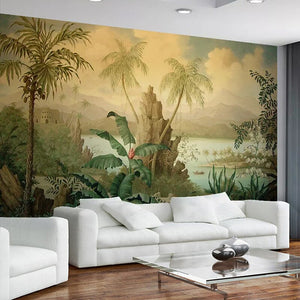 Custom 3D Wallpaper Art Wall Mural European Style Retro Landscape Oil Painting Tropical Rainforest Banana Coconut Tree Wallpaper - WallpaperUniversity