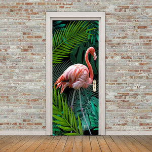 3D Photo Wallpaper Hand-painted Tropical Rainforest Flamingo Background Living Room Study Bedroom Door Sticker PVC Mural Fresco - WallpaperUniversity