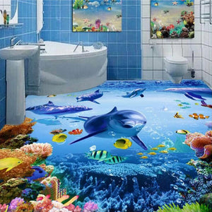 Custom Photo Wallpaper 3D PVC Self-adhesive Wear Non-slip Thickened Waterproof Ocean Bathroom Floor Mural Stickers Wallpaper - WallpaperUniversity