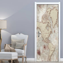 Load image into Gallery viewer, 2Pcs Map Living Room Bedroom Door Sticker 3D Wallpaper PVC Self-adhesive Waterproof Wall Sticker Mural Home Decor Wall Paintings - WallpaperUniversity