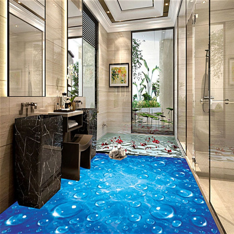 Custom Floor Mural Wallpaper Blue Wave Water Droplets 3D Bathroom Kitchen Floor Sticker PVC Wear Non-slip Wallpaper For Walls 3D - WallpaperUniversity