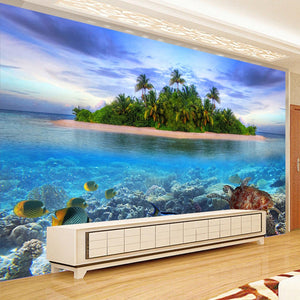 Custom 3D Photo Mural Wallpaper Seaside Scenery Non-woven Living Room TV Background Decor Modern Wall Painting Papel De Parede - WallpaperUniversity