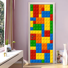 Load image into Gallery viewer, 3D Wall Mural Wallpaper Kids Room Lego Bricks Children Room Bedroom Decoration Self-adhesive Door Sticker PVC Mural Waterproof - WallpaperUniversity