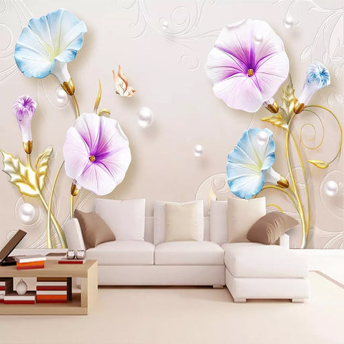 3D Embossed Jewelry Morning Glory Murals Custom European Style 8D Wallpaper Living Room TV Background Wall Home Decoration Mural
