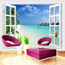 Load image into Gallery viewer, Custom Mural Mediterranean Window Scenery Photography Background Home Wallpaper Wall Decor Living Room 3D Wall Murals Wallpaper - WallpaperUniversity