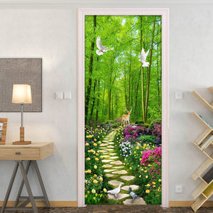 Green Forest Stone Road 3D Photo Wallpaper Wall Painting Living Room Bedroom Door Sticker PVC Waterproof Self-adhesive Mural - WallpaperUniversity