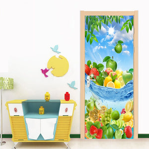 Fresh Fruit Modern 3D Living Room Kitchen Bedroom Door Sticker Mural PVC Self-adhesive Photo Mural Door Wallpaper Home Decor - WallpaperUniversity