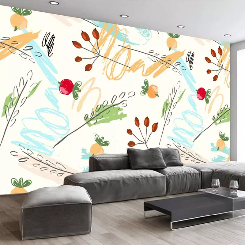 Nordic Fashion Leaf Leaves Fruit Photo Wallpaper Living Room  TV Background Wall Decoration Mural Wall Covering Papel De Parede - WallpaperUniversity