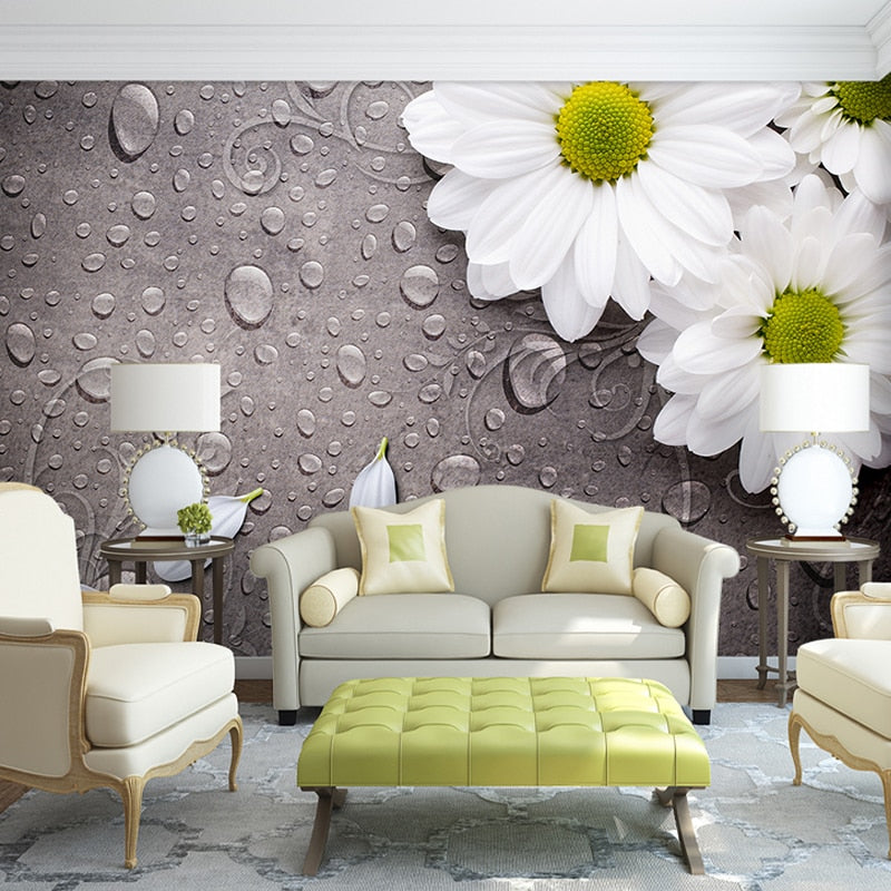Custom 3D Photo Wallpaper Bedroom For Walls White Water Droplets Flower Background Decorative Wall Murals Wallpaper Living Room - WallpaperUniversity