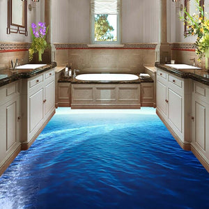 Custom Flooring 3D Mural Wallpaper Sea Scenery Bathroom Living Room Floor Sticker Mural PVC Self-adhesive Waterproof Wall Paper - WallpaperUniversity