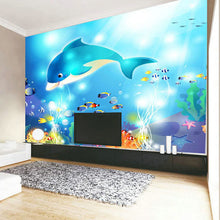 Load image into Gallery viewer, Custom Photo Wallpaper Modern Underwater World Dolphin Children's Room Bedroom Non-woven Wall Mural Paintings Wallpaper Prints - WallpaperUniversity