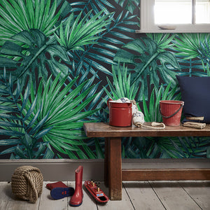 Custom Photo Wallpaper Nordic Hand Painted Rainforest Plants Green Leaves Living Room TV Background 3D Wall Murals Wallpaper - WallpaperUniversity