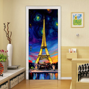 Hand Painted Oil Painting Paris Tower 3D PVC Self-adhesive Door Stickers Wallpaper Home Decor Living Room Study Door Sticker Art - WallpaperUniversity
