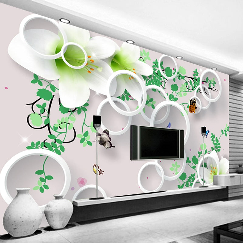 Custom Photo Wallpaper Modern 3D Stereo Round Circle Lily Flower Large Mural Living Room TV Background Home Decor Papel De Pared - WallpaperUniversity
