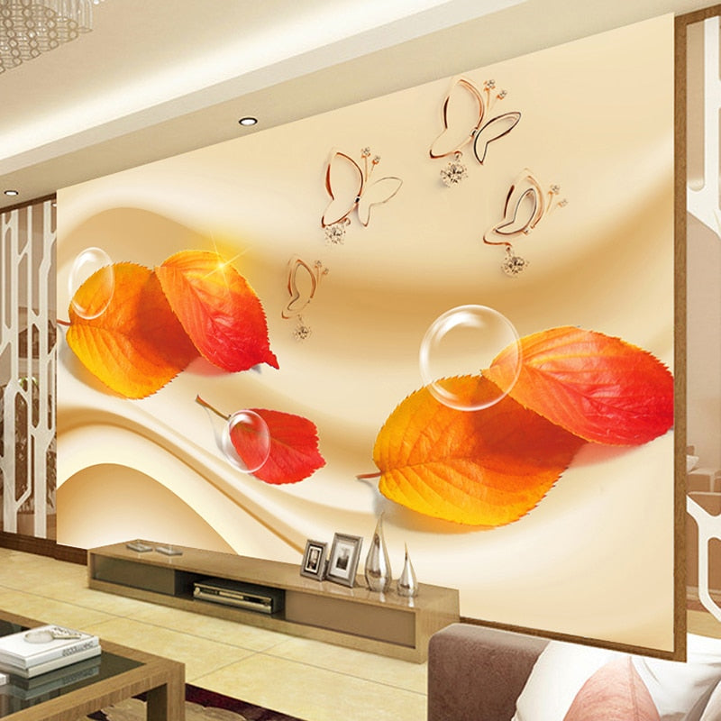 Custom Photo Wallpaper 3D Living Room Sofa TV HD Fashion Red Maple Leaves Butterfly Bubble Large Mural 3D Wall Murals Wallpaper - WallpaperUniversity