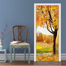Load image into Gallery viewer, Tree Golden Autumn Nature Landscape Large Mural Wallpaper Papel De Parede 3D DIY Door Sticker Wall Paper PVC Self-adhesive Mural - WallpaperUniversity