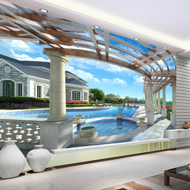 Custom 3D Mural Wallpaper Non-woven HD 3D Stereo Space Extension Outdoor Swimming Pool Large Murals Background Decor Wallpaper - WallpaperUniversity