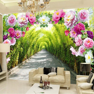 Custom 3D Mural Wallpaper Livingroom Bedroom Sofa Background Wallpaper Garden Flowers Flower Door Gallery Extend Space Wallpaper - WallpaperUniversity