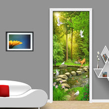 Load image into Gallery viewer, Creative DIY Self-adhesive PVC Door Sticker Home Decor Wall Decals Wallpaper 3D Green Tree Creek Bedroom Living Room Door Mural - WallpaperUniversity
