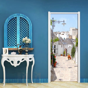 European Town Street DIY Mural Living Room Bedroom Door Decoration Wallpaper Vinyl Door PVC Waterproof Door Sticker Wallpaper - WallpaperUniversity