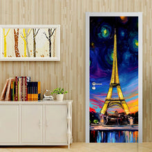 Load image into Gallery viewer, Hand Painted Oil Painting Paris Tower 3D PVC Self-adhesive Door Stickers Wallpaper Home Decor Living Room Study Door Sticker Art -