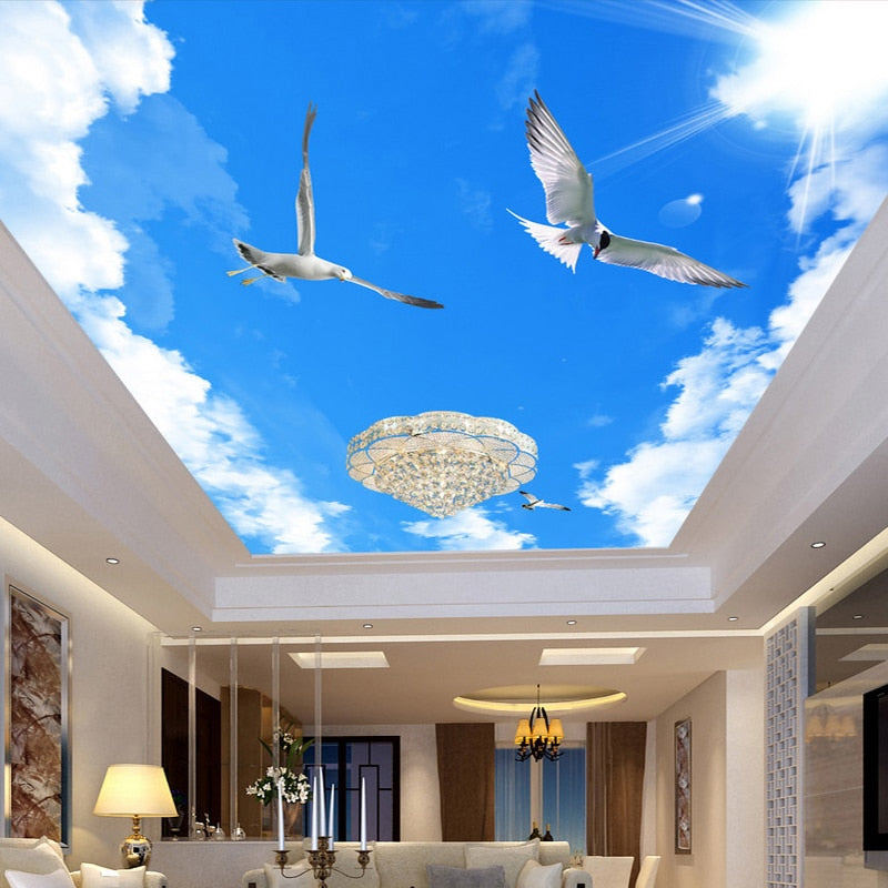 Custom Any Size 3D Stereo Blue Sky White Clouds Ceiling Murals Wallpaper Living Room Wall Papers Home Decor Modern Wall Painting - WallpaperUniversity