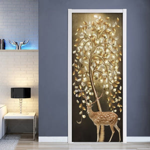 PVC Self Adhesive Waterproof Door Sticker Tree Deer 3D Photo Wallpaper Papel De Parede Living Room Bedroom Door Decor Wall Paper - WallpaperUniversity