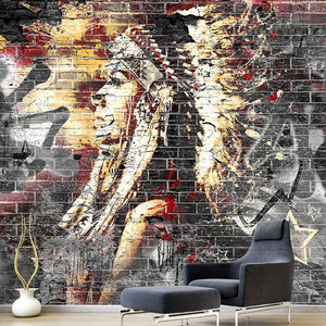Custom Wallpaper Murals 3D Graffiti Art Wood Grain Brick Wall Mural Retro Characteristic Cafe Restaurant Wall Covering Wallpaper - WallpaperUniversity