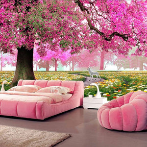 Custom Photo Mural 3D Stereoscopic Romantic Cherry Tree Wall Painting Art HD Living Room Sofa TV Background 3D Mural Wallpaper - WallpaperUniversity