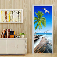 Load image into Gallery viewer, Modern Simple Living Room Door Decoration Sticker Mural PVC Self-adhesive 3D Sea View Coconut Trees Reef Stone Photo Wallpaper - WallpaperUniversity