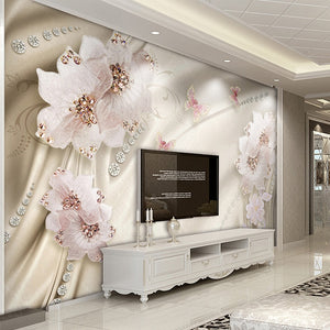 Custom 3D Photo Wallpaper Luxury Jewelry Flower Butterfly TV Background Wall Mural Wallpaper For Living Room Bedroom Home Decor - WallpaperUniversity