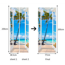 Load image into Gallery viewer, 3D Door Sticker Window Balcony Coconut Tree Sea View Wall Mural Wallpaper Stickers Self Adhesive Removable Home Door Wall Decals - WallpaperUniversity