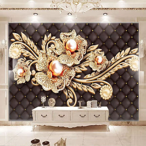 Custom Mural Wallpaper Black Jewel Diamond Pearl Flower European Style Living Room Bedroom TV Background Wall Painting Pictures - WallpaperUniversity