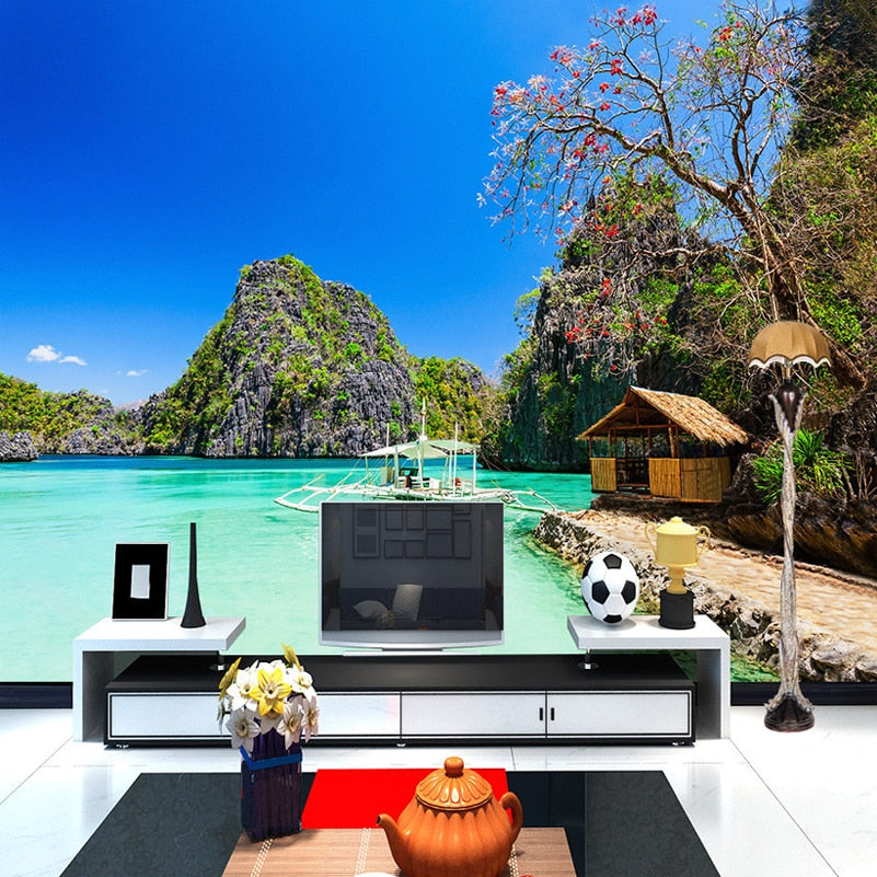 Custom Any Size 3D Photo Wallpaper Seaside Beach Landscape Photography Background Wall Decorations Living Room Mural Wallpaper - WallpaperUniversity