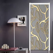 Load image into Gallery viewer, 2Pcs/Set Golden Leaves 3D Door Sticker PVC Self-adhesive Waterproof Wallpaper Wall Decals Home Decor Living Room Bedroom Decor - WallpaperUniversity
