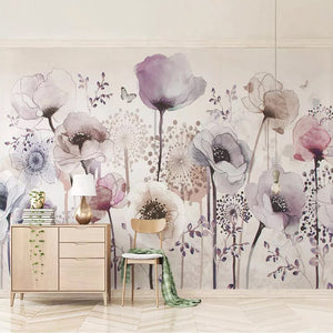 Custom Mural Wallpaper 3D Fashion Watercolor Hand Painted Flower Floral Living Room TV Background Home Decor Wallpaper Painting - WallpaperUniversity