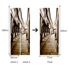 Load image into Gallery viewer, 2pcs/Set Door Stickers Home Decor Self-adhesive 3D Street View Mural PVC Waterproof Living Room Bedroom Door Sticker Wall Decals - WallpaperUniversity