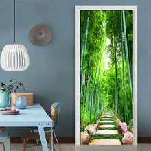 Load image into Gallery viewer, Green Bamboo Path 3D Photo Wallpaper Home Decor Modern Living Room Bedroom Door Stickers PVC Mural Sticker Waterproof Wallpaper - WallpaperUniversity