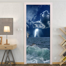 Load image into Gallery viewer, 2pcs 3D Ocean Wave Self-adhesive Waterproof Mural Poster Creative Door Stickers PVC Door Sticker Home Decor Photo Wall Paper 3D - WallpaperUniversity
