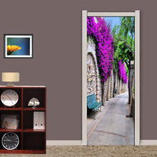 Load image into Gallery viewer, Modern European City Streetscape Purple Flower Mural Living Room Bedroom Door Wall Decoration PVC Waterproof Mural 3D Wallpaper - WallpaperUniversity