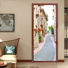 Load image into Gallery viewer, Living Room Bedroom Door Stickers Mural European Style Street View PVC Waterproof Self-adhesive Door Sticker Decor Wallpaper - WallpaperUniversity