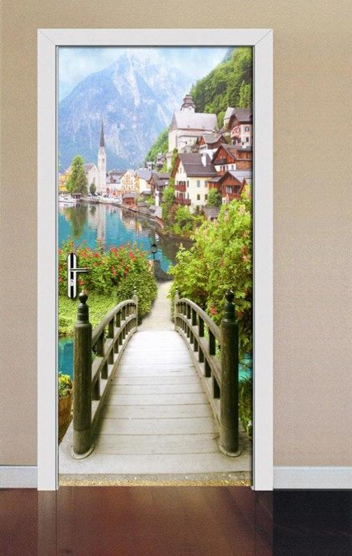 FOOTBRIDGE TO THE VILLAGE Door Mural - WallpaperUniversity