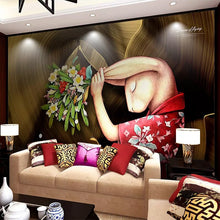 Load image into Gallery viewer, Custom 3D Wall Murals Wallpaper Art Abstract Rabbit Hand Painted Character Oil Painting Wallpaper For Bedroom Wall Decor Mural - WallpaperUniversity