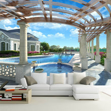 Load image into Gallery viewer, Custom 3D Mural Wallpaper Non-woven HD 3D Stereo Space Extension Outdoor Swimming Pool Large Murals Background Decor Wallpaper - WallpaperUniversity
