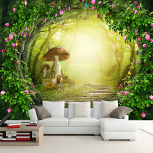 Load image into Gallery viewer, Flower Vine Mushroom House Forest Living Room Background Decor Large Custom Wall Mural Non-woven Fabric Wallpaper For Walls Roll - WallpaperUniversity
