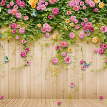 Load image into Gallery viewer, Custom Mural Wallpaper Green Vine Butterfly Rose Flower Wood Board Backdrop Decoration Painting Mural Living Room TV Wall Paper - WallpaperUniversity