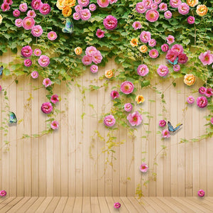 Custom Mural Wallpaper Green Vine Butterfly Rose Flower Wood Board Backdrop Decoration Painting Mural Living Room TV Wall Paper - WallpaperUniversity