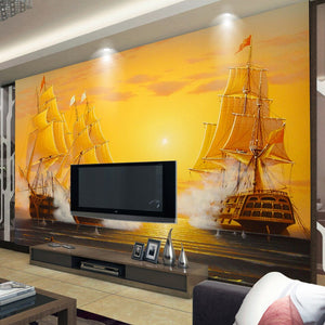 Custom 3D Mural Wallpaper Oil Painting Sailboat Smooth Sailing TV Backdrop Decoratives Picture Modern Wallpaper For Living Room - WallpaperUniversity