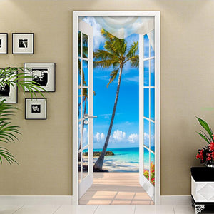 3D Door Sticker Window Balcony Coconut Tree Sea View Wall Mural Wallpaper Stickers Self Adhesive Removable Home Door Wall Decals - WallpaperUniversity