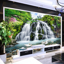Load image into Gallery viewer, Mountain Water Landscape Running Water Waterfall Wall Mural Custom 3D Photo Wallpaper Living Room Background Decor Wall Painting - WallpaperUniversity